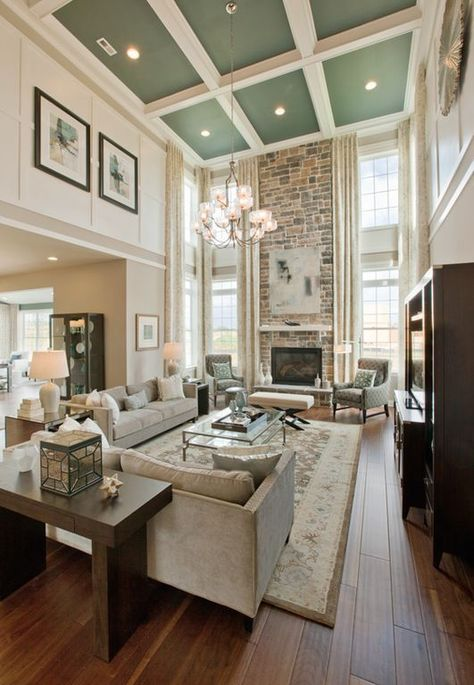 Living Room With High Ceilings And Fireplace With Windows Best