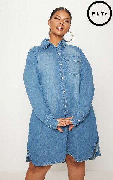 PrettyLittleThing oversized denim shirt dress. #prettylittlething ...
