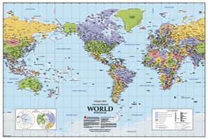 Complete Map Of Usa.North America Centered World Wall Map
