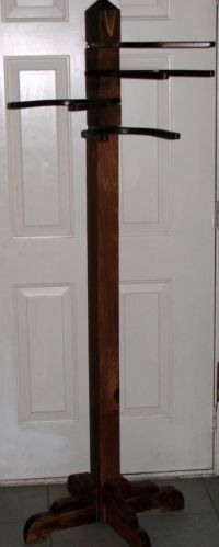 """Vintage Wooden 4 Cowboy Hat Rack / Coat Rack 5' 10"""" Tall Dark Stain Wood"""