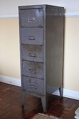 Vintage Metal Grey Tall Stor Bisley Office Filing Cabinet Unit 2199