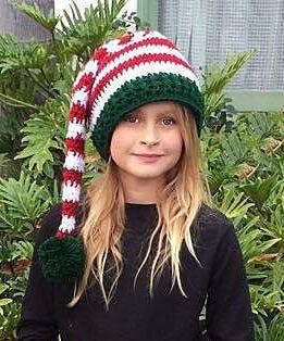 Christmas Stripe Hat with Holly and Pom Pom