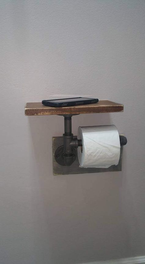 "Industrial Toilet Paper Holder, Farmhouse Toilet Paper Holder, Plumbing Pipe Toilet Paper Holder, Industrial Bathroom, Rustic - with Shelf - Constructed of ½"" iron pipe made from unfinished fittings with a natural gunmetal color."