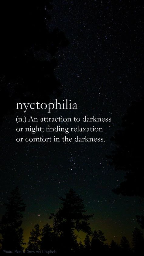 Nyctophilia definition: (n.) An attraction to darkness or night; finding relaxation or comfort in the darkness. (photo: Matt K. Gross via Unsplash) Night Quotes Thoughts, Mood Quotes, Life Quotes, Dark Thoughts, Dark Quotes About Life, Quotes About Night, Quotes About Darkness, Good Night Poems, Cute Good Night Quotes