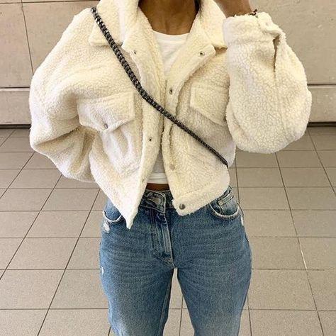 (1) ASHORESHOP Cozy Faux Lambswool Fleece Jackets – ASHORE SHOP Fake Fur Coat, Faux Fur, Fuzzy Coat, Mode Ootd, Fall Jackets, Cropped Jackets, Fleece Jackets, Cheap Jackets, Fur Vests