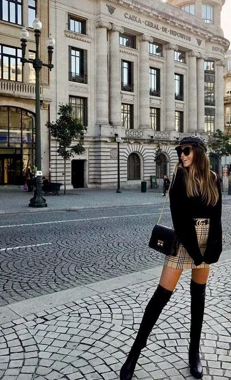 Burberry skirt and Gucci belt outfit