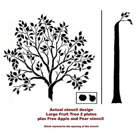 Cutting Edge Stencils - Large Fruit Tree Stencil. $99.95. See more Fresco and Mural Stencils: http://www.cuttingedgestencils.com/wall-stencils-murals-oaks.html    #fresco #mural #stencils #cuttingedgestencils #stenciling #stencilpatterns