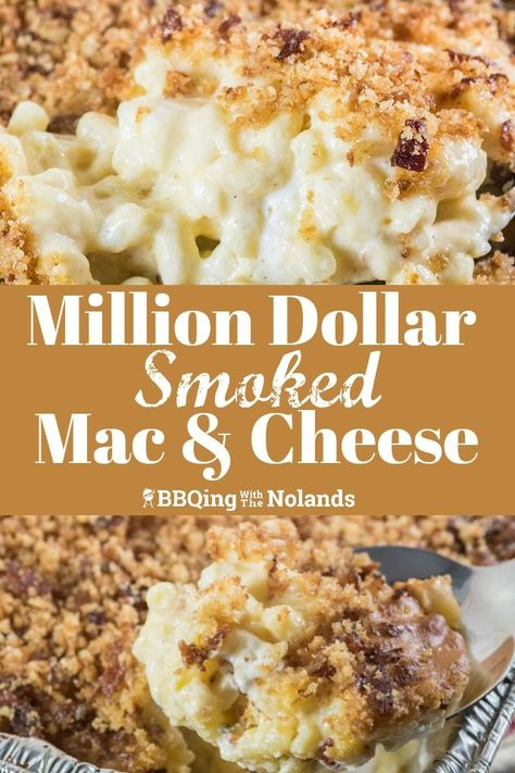 Million Dollar Smoked Mac and Cheese is the epitome of comfort food. The smoky flavor enhances the cheesy gooey goodness. Million Dollar Smoked Mac and Cheese is the epitome of comfort food. The smoky flavor enhances the cheesy gooey goodness. Smoker Grill Recipes, Smoker Cooking, Grilling Recipes, Electric Smoker Recipes, Smoker Mac And Cheese, Mac Cheese, Smoked Mac N Cheese Recipe, Grilled Mac And Cheese, Smoked Cheese