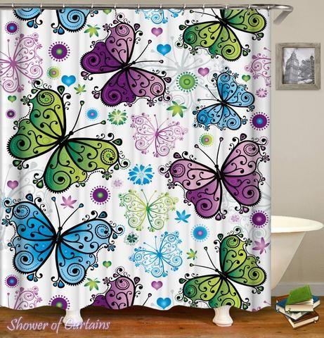 Shower Curtains Blue Green Purple Butterflies Shower Of