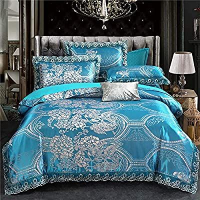Amazon Com Pyclife Lace Jacquard Duvet Cover Luxury Bedding 3 Piece Duvet Covers Blue Bedding Sets King Blue Bedding Sets Full Bedding Sets Duvet Bedding Sets