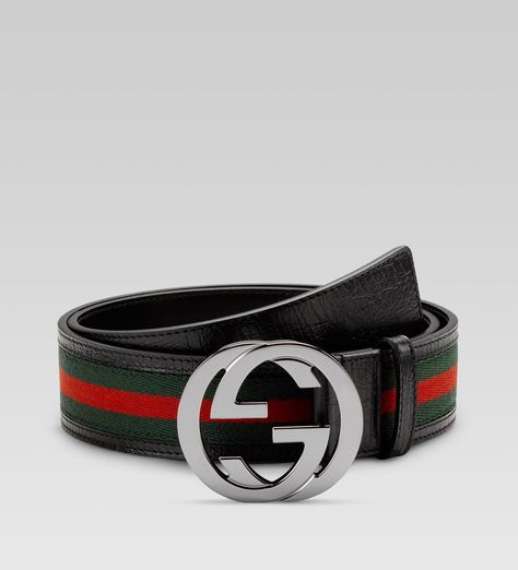 de9be55ab belt: green/red/green signature web fabric with black leather trim. Gucci.