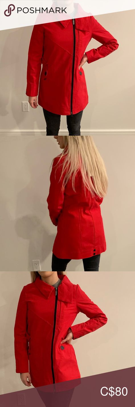 Schwiing Red Coat Schwiing ( a local brand from Montréal ) red utility jacket coat in size medium. Fits a tighter medium so more of a small!  Brand new with tags, perfect condition. As photo showed, Zipper is off centred for stylish look. You absolutely need this 🧥 !!! Gorgeous jacket for fall/spring.   I'm open to any offers! 💕 Schwiing Jackets & Coats Utility Jackets
