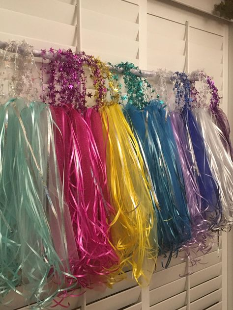 Wire Halos with Tulle Ribbon Party Halos Flower Halos image 0 Princess Birthday Party Decorations, Princess Theme Birthday, Princess Party Favors, Disney Princess Party, 4th Birthday Parties, Birthday Crowns, Cinderella Party, Tangled Party, Tinkerbell Party