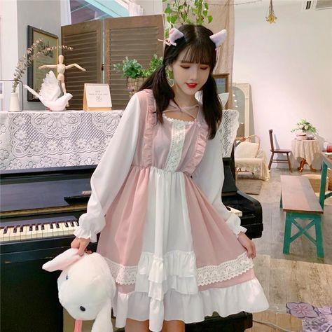 Sweet Ruffle Hem Stitching Dress - Pink / One Size