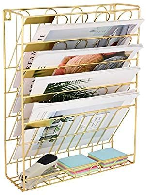 Amazon Com Superbpag Hanging Wall File Organizer 5 Slot Wire Metal Wall Mounted Document Holder For Off Wall File Organizer Wall File Hanging File Organizer