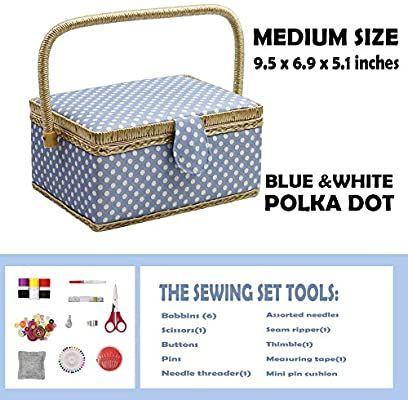 D D De Costura Cesta Organizador Con Accesorios Hogar Caja De Costura Kit De Costura Básicos Para Hogar Y Viaje Color Azul Lunares Coser Kits Regalo Amazon En 2020