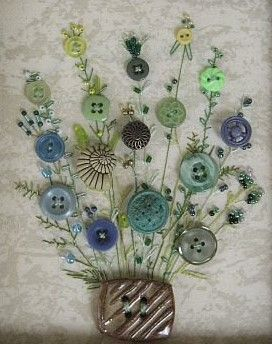 40 Cool Button Craft Projects for 2016 - Bored Art Embroidery Stitches, Embroidery Patterns, Hand Embroidery, Button Bouquet, Button Flowers, Diy Buttons, Vintage Buttons, Button Art, Button Crafts
