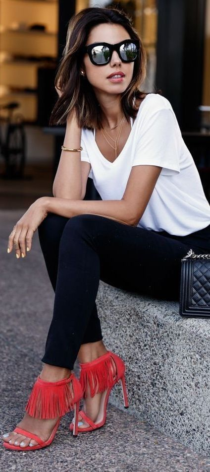 #street #style #spring #2016 #inspiration | Black and white + pop of red | Vivaluxury