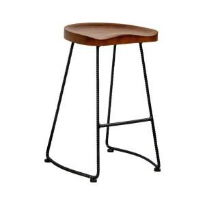 Mod Made Potter Wood Counter Stool With Rustic Metal Legs 26 In Walnut Bar Stool Set Of 2 Mm Ws 034d Walnut The Home Depot Wood Counter Stools Counter Stools Counter Stools Backless Metal stool with wood seat