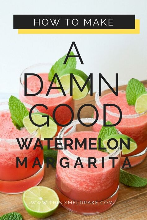 Looking for an easy frozen margarita to serve at your next party? I'll show you how to make the perfect watermelon margarita guaranteed to turn the party up a notch Cheers! Watermelon Tequila, Frozen Watermelon Margarita, Mint Margarita, Tequila Drinks, Margarita Recipes, Margarita Party, Watermelon Alcoholic Drinks, Liquor Drinks, Watermelon Recipes
