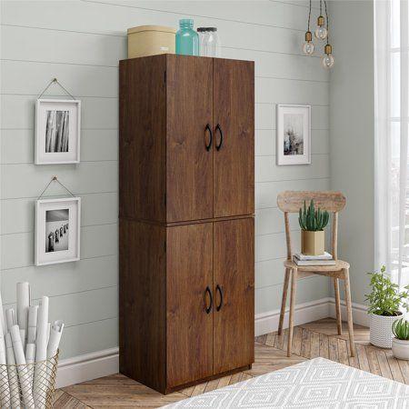 Mainstays 4 Door Storage Cabinet Espresso Walmart Com In 2020 Tall Cabinet Storage Home Storage Cabinets Organization Furniture