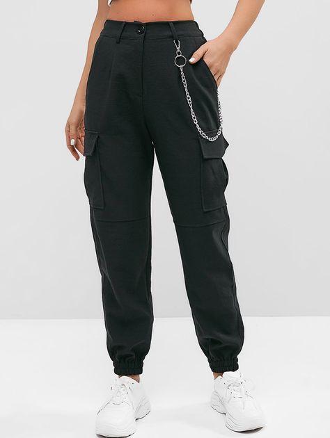 Flap Pockets Chain Jogger Pants  BLACK , #spon, #Chain, #Pockets, #Flap, #BLACK, #Pants #Ad