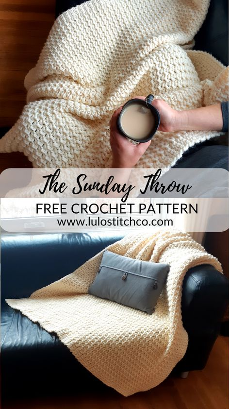 The soft squishy sunday throw is a richly textured but very easy to make throw that will add a lot of warmth to your decor and your snuggles on the sofa find this free crochet pattern and more at lulostitchco com the winnie blanket free crochet pattern Crochet Afghans, Crochet Throw Pattern, Afghan Crochet Patterns, Crochet Baby, Knit Crochet, Crochet Blankets, Simple Crochet Blanket, Chunky Blanket, Crochet Blanket Stitches