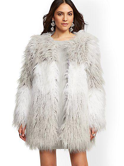 Fur Coat Fashion Ombre Faux, Faux Fur Coat Company