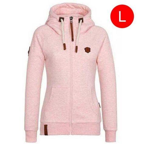 Pure Color Zipper Hoodie Zip Hoody à Capuche Sports Manteau Tops Sweat Pull