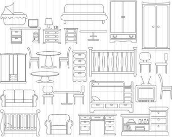 Dollhouse Furniture Clipart Furniture Clipart Black And White Chair Table Furniture Wood Stool Woo In 2020 Clip Art Clipart Black And White Digital Clip Art Graphics