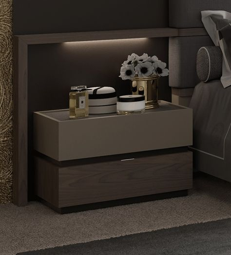 esf furniture leo wood veneer nightstand w2 drawers in