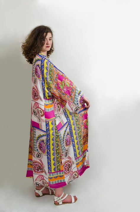 Floral long ethno long sleeves front open cotton kimono cardigan  Beach festival cover up coat  Boho