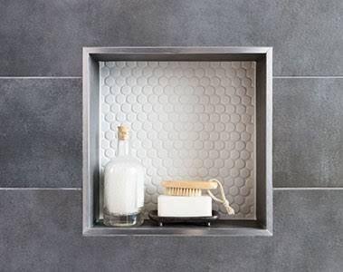 bathroom copper tile trim