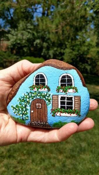 Fairy Garden House Painted Rocks