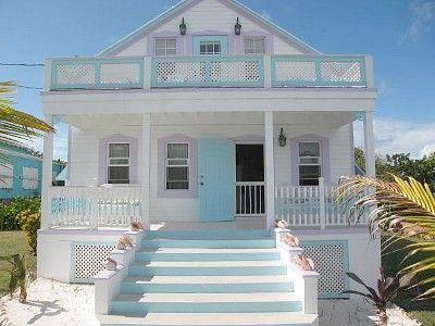 Is This Not Just The Perfect Beach House Aqua Blue Detailing And All White Exterior With Conch Shells Ar Beach Cottage Style Dream Beach Houses Beach House