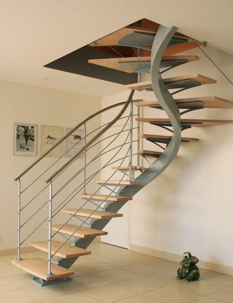 Escalier A Limon Central 2 4 Tournant Escaliers Modernes