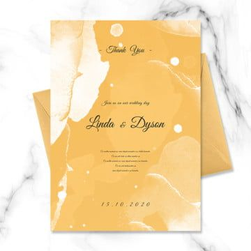 Yellow Oil Color Blooming Wedding Invitation Colorful Oil Painting Paint Splash Template Design