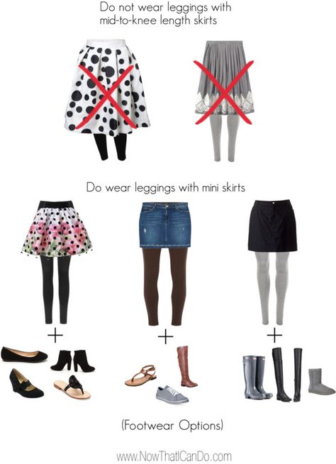 Guide 2 of 3: Leggings & Skirts. How to wear leggings with skirts to avoid looking frumpy. This blogger also shared tips about balancing proportions and how to pair shoes with skirts on the blog post.