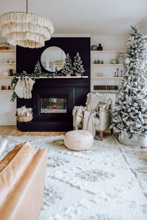 A Modern Christmas Living Room - White Picket Farmhouse A Modern Christmas Living Room. How we decorated our living room with minimal Christmas decor using white, black and natural woods. Living Room White, White Rooms, Small Living, Living Room Ideas Black And White, Winter Living Room, White Room Decor, New Living Room, Black Decor, Deco Boheme Chic