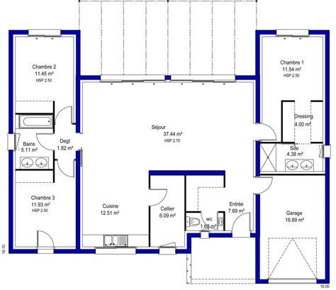 22 best Ház terv 1 images on Pinterest Architecture, House floor - plan maison 170 m2 plain pied