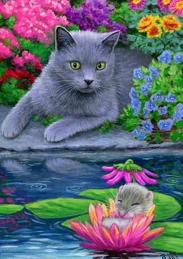 ACEO original cat mouse garden pond water lilies flowers painting art
