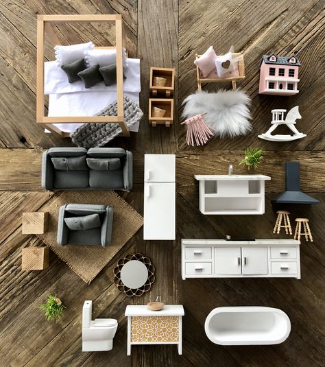 The ultimate furniture package for scale dollhouse Barbie House Furniture, Modern Dollhouse Furniture, Doll Furniture, Mini Doll House, Barbie Doll House, Barbie Dream House, Best Doll House, Ikea Dollhouse, Wooden Dollhouse