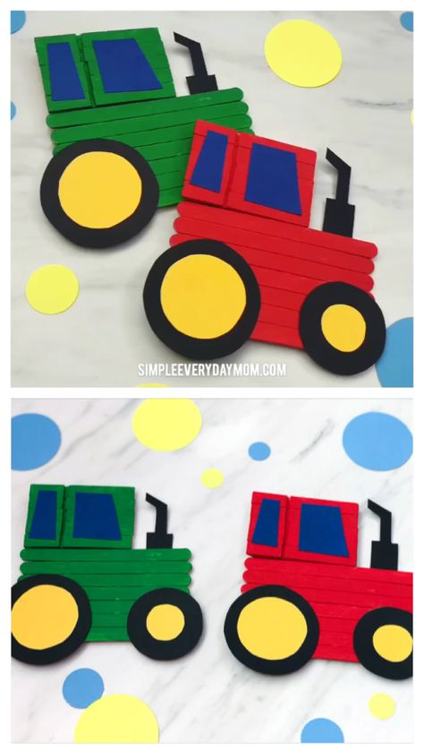 Tractor Craft For Kids | This popsicle stick tractor craft is a fun activity to do with the kids when learning all about farm life. It's simple and comes with a free printable template too!   #kids #kidscrafts #craftsforkids #tractorcrafts #farmcrafts #gradeschool #elementary #activitiesforkids #kidsactivities #kidsactivity #artprojects #farmtheme