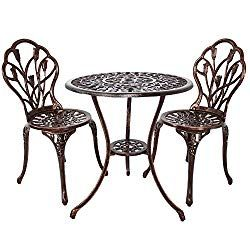 Homefun Bistro Table Set Outdoor Patio Set 3 Piece Table Chairs
