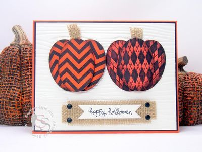 Stampin' Up! ... handmade Halloween card by Mike Funke ... two punch art pumpkins ... orange and black ovals ... burlap ... reminds me of pottery ....