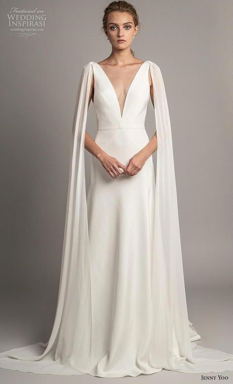 jenny yoo spring 2019 bridal long hanging sleeves deep v neck simple minimalist elegant clean look modified a  line wedding dress backless scoop back short train (1) mv -- Jenny Yoo Spring 2019 Wedding Dresses | Wedding Inspirasi #wedding #weddings #bridal #weddingdress #weddingdresses #bride #fashion  ~ #simpleweddingdress #modifiedalineweddingdress