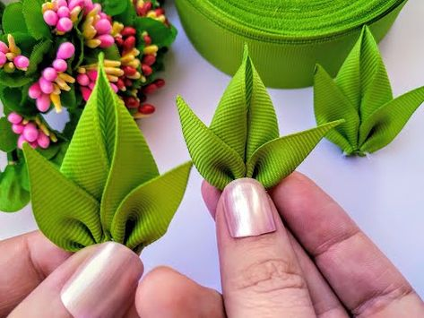 # 2 Leaves for flowers – Typical Miracle Diy Embroidery Flowers, Ribbon Embroidery Tutorial, Ribbon Flower Tutorial, Bow Tutorial, Cloth Flowers, Diy Flowers, Fabric Flowers, Paper Flowers, Ribbon Art