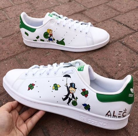 Custom Adidas. Scrooge McDuck. Hand Painted By: Diana Ponzo
