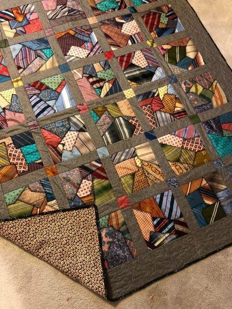 Handmade Vintage Tie quilt on Mercari Crazy Quilt Blocks, Quilt Block Patterns, Scrappy Quilts, Easy Quilts, Quilting Projects, Quilting Designs, Necktie Quilt, Crumb Quilt, String Quilts