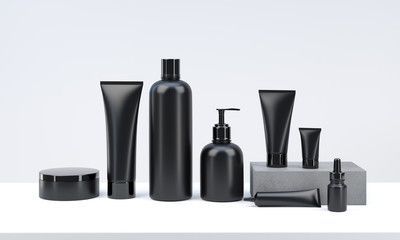 3d Render Mockup Of Men S Cosmetic Bundle For Skin Hair Care Black Plastic Bottles And Tubes With Shampoo Design Natural Shampoo And Conditioner Mens Shampoo